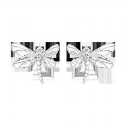 Boucles d'oreilles Libellule avec zircon blanc
