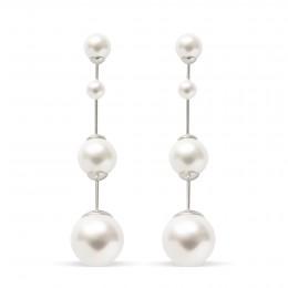 Boucles d'oreilles Cocktail avec perles, plaqué argent