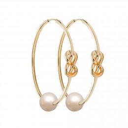 Ensemble de boucles d'oreilles Eternity de 4cm en argent et plaquées or avec grande perle blanche