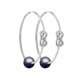 Ensemble de boucles d'oreilles Eternity de 4cm en argent avec grande perle foncée