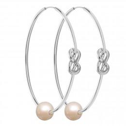 Ensemble de boucles d'oreilles Eternity de 5cm en argent avec grande perle blanche