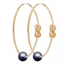 Ensemble de boucles d'oreilles Eternity de 5cm en argent et plaquées or avec grande perle foncée