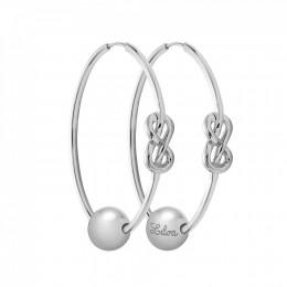 Ensemble de boucles d'oreilles Eternity de 4cm en argent avec perles en argent