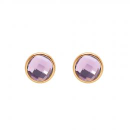 Boucles d'oreilles avec quartz violet, plaqué or