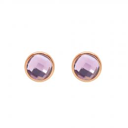 Boucles d'oreilles avec quartz violet, plaqué or rose