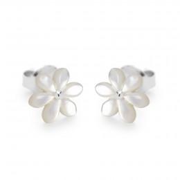 Boucles d'oreilles puces Flowers en nacre et plaqué argent