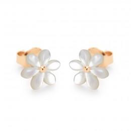 Boucles d'oreilles puces Flowers en nacre et plaqué or