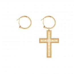 Boucles d'oreilles avec une croix Barok 4,5 cm, plaqué or