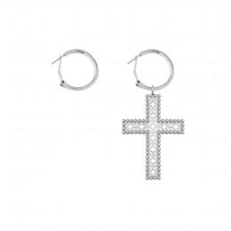 Boucles d'oreilles avec une croix Barok 4,5 cm, plaqué argent