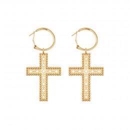 Boucles d'oreilles avec deux croix Barok 4,5 cm, plaqué or
