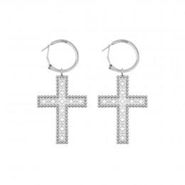 Boucles d'oreilles avec deux croix Barok 4,5 cm, plaqué argent