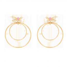 Boucles d'oreilles Libellule, longues, avec zircon rose