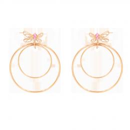 Boucles d'oreilles Libellule, longues, avec zircon rose, plaqué or rose
