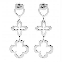Boucles d'oreilles ajourées 3 éléments Cœurs en argent