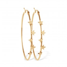 Boucles d'oreilles créoles avec étoiles, plaqué or
