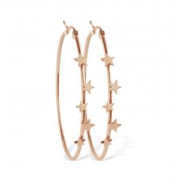 Boucles d'oreilles créoles avec étoiles, plaqué or rose