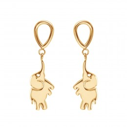 Boucles d'oreilles Eléphant, plaqué or