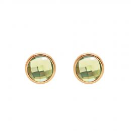 Boucles d'oreilles avec quartz vert, plaqué or