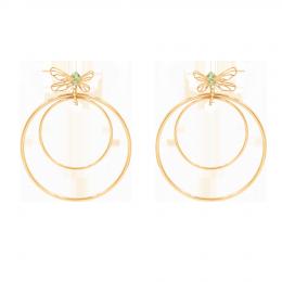 Boucles d'oreilles Libellule, longues, avec zircon vert