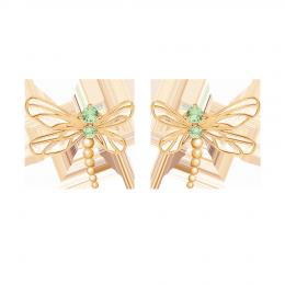 Boucles d'oreilles Libellule avec zircon vert