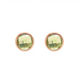 Boucles d'oreilles avec quartz vert, plaqué or rose