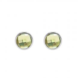 Boucles d'oreilles avec quartz vert, plaqué argent