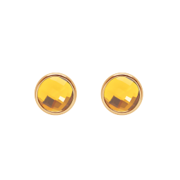 Boucles d'oreilles avec quartz jaune, plaqué or