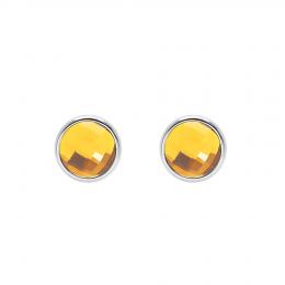 Boucles d'oreilles avec quartz jaune, plaqué argent
