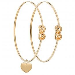 Ensemble de boucles d'oreilles Eternity de 5cm en argent plaquees or 23 carats avec un coeur plaque or
