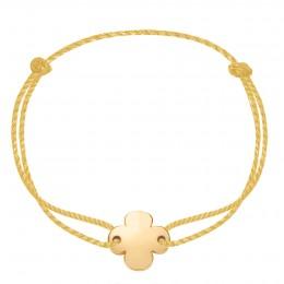 Bracelet avec un trèfle rond plaqué or sur un fil d'or épais de première qualité
