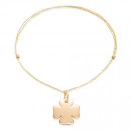 Bracelet avec un trèfle sur un  cordon doré fin premium