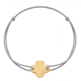 Bracelet avec trèfle rond plaqué or sur un cordon fin gris claire
