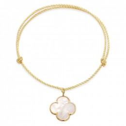Bracelet avec un trèfle rond en nacre avec bordure d'or poinçon 585 sur un cordon épais doré premium