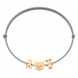 Bracelet avec garçon, chaton Etincelle et fillette en plaqué or sur cordon fin gris clair