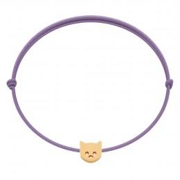 Bracelet avec chaton Etincelle plaqué or sur cordon fin lavande