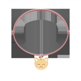 Bransoletka z Kotkiem na cienkim różowym sznurku