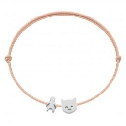 Bracelet avec garçon et chaton Etincelle argent sur cordon fin saumon