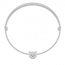 Bracelet avec chaton Etincelle argent sur cordon premium épais argenté