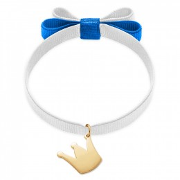 Bracelet ruban double nœud de couleur blanche avec une couronne plaquée or