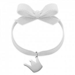 Bracelet ruban de couleur blanche avec une couronne en argent