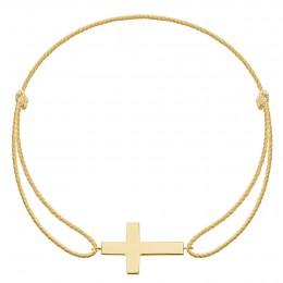 Bracelet avec croix en plaqué or sur cordon premium doré