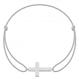 Bracelet avec croix en plaqué argent sur cordon premium argenté