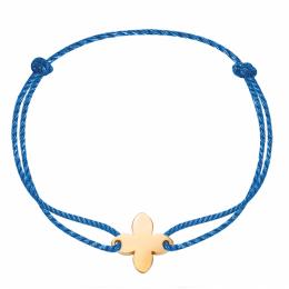 Bracelet avec fleur de lys plaquée or sur un cordon épais bleu premium.
