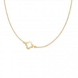 Collier chaîne avec un trèfle ajouré plaqué or