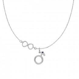 Collier avec pendentif Mars orné d'un saphir, sur une chaîne en argent avec signe de l'infini