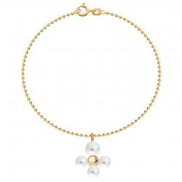 Bracelet avec pendentif Luck avec des perles, plaqué or sur chaine maille boule