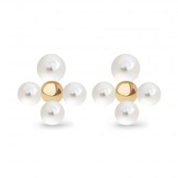 Boucles d'oreilles puces Luck avec des perles, plaqué or