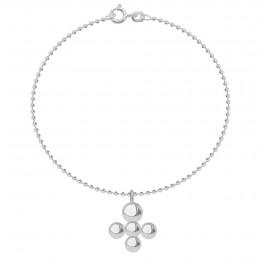 Bracelet avec pendentif Luck sur chaine maille boule, plaqué argent
