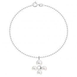 Bracelet avec pendentif Luck avec des perles, plaqué argent sur chaine maille boule