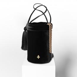 Mini sac Maia, noir lisse, finitions métal doré